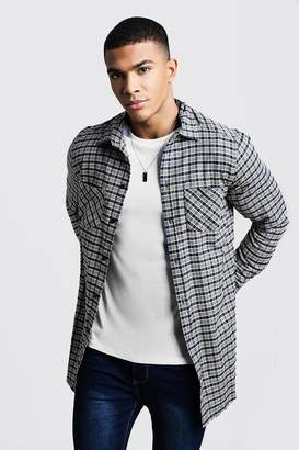 boohoo Dele Yellow Contrast Check Longline Long Sleeve Shirt