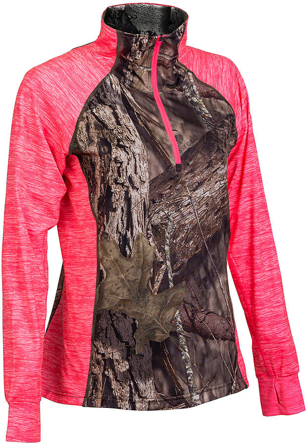 Coral Heather & Leaf Camo Zip-Accent Turtleneck - Women