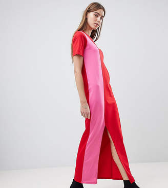 Asos Tall TALL Ultimate T-Shirt Maxi Dress In Color Block