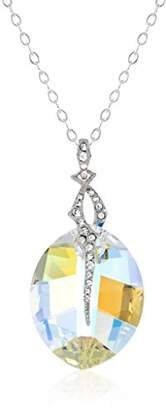 Swarovski Sterling Silver Elements Navette Cut Bead and Cubic Zirconia Chain Pendant Necklace