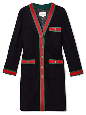 Gucci Women's Long Sleeve Stripe Detail Coat