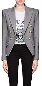 Balmain Women's Wool-Blend Flannel Double-Breasted Blazer - Gray
