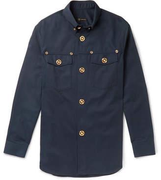 Versace Button-Down Collar Cotton-Twill Shirt - Navy