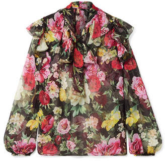Dolce & Gabbana Pussy-bow Floral-print Silk-chiffon Blouse - Black