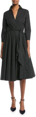 Michael Kors 3/4-Sleeve Pindot Stretch-Poplin Wrap Dress