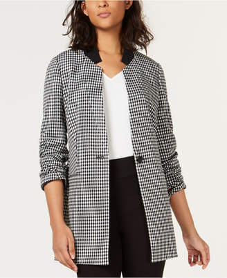 Bar III Check-Print One-Button Jacket, Created for Macy's