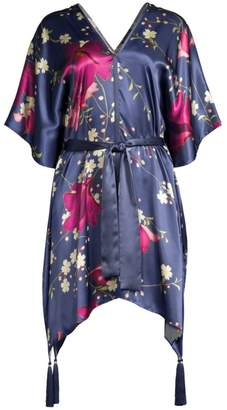 Natori Bloom Floral Silk Caftan