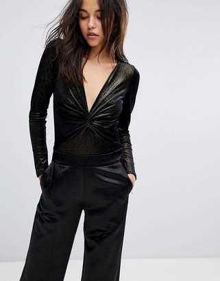 Miss Selfridge Glitter Twist Front Body