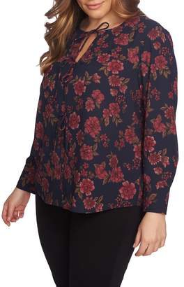1 STATE 1.STATE Gallant Garden Tie Neck Blouse
