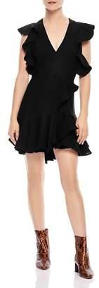Sandro Obiwan Ruffle Mini Dress