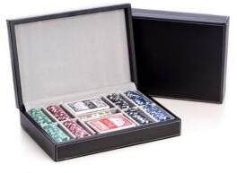 Bey-Berk Leather Wrapped Poker Set
