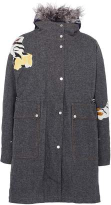 Angel Chen Faux shearling collar tiger graphic appliqué canvas coat