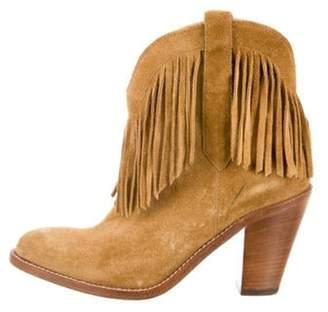 Saint Laurent Suede Fringe Ankle Boots Tan Suede Fringe Ankle Boots