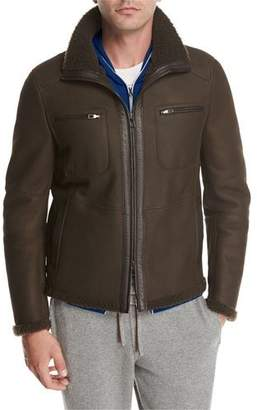 Loro Piana Shearling Moto Jacket, Brown