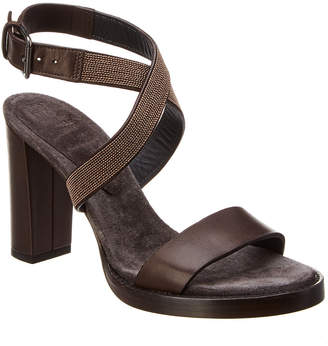 Brunello Cucinelli Embellished Leather Ankle Wrap Sandal