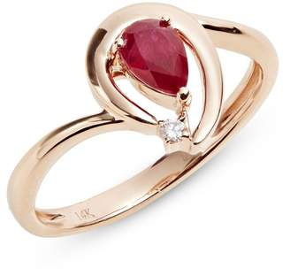 Effy 14K Rose Gold Ring with Ruby and 0.01 CT. T.W. Diamonds