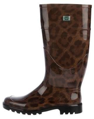 Dolce & Gabbana Animal Print Round-Toe Rain Boots