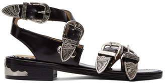 Toga Pulla Black Four-Buckle Western Sandals