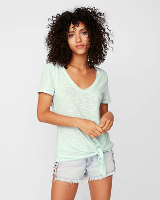 Express Petite One Eleven Tie Front Slim Tee