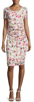 Kay Unger New York Short-Sleeve Floral-Print Ruched Jersey Dress $250 thestylecure.com