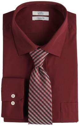 Croft & Barrow Big & Tall Regular-Fit Stretch-Collar Dress Shirt and Patterned Tie Boxed Set