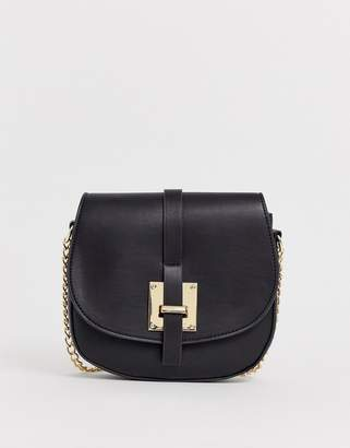 Pieces flap over cross body bag with gold buckle