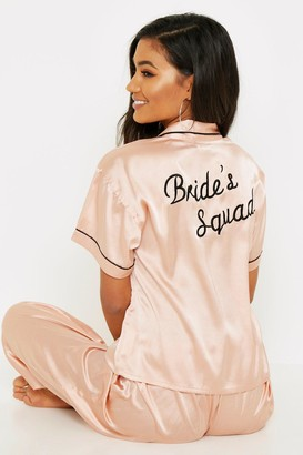 boohoo Rose Gold Brides Squad Embroidered PJs