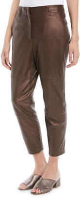 Brunello Cucinelli Metallic-Leather Cropped Straight-Leg Pants