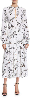 Oscar de la Renta Seagull-Print Long-Sleeve Pleated Long Dress