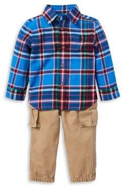 Ralph Lauren Childrenswear Little Boy's Two-Piece Cotton Plaid Shirt Pants Set