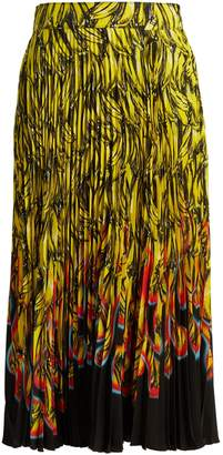 Prada Banana and flame-print pleated midi skirt