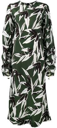 Marni ruched leaf print dress