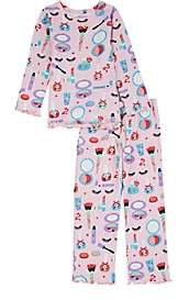 Sara's Prints KIDS' MAKEUP-PRINT COTTON-BLEND PAJAMA SET-PINK SIZE 10 YRS