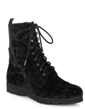 Donald J Pliner Carmen Velvet Combat Boots