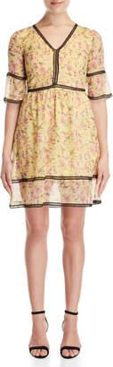 Gaudi' Gaudi Floral V-Neck Fit & Flare Dress