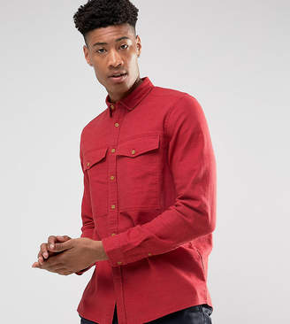 Asos Tall Linen Mix Overshirt With Chest Pockets