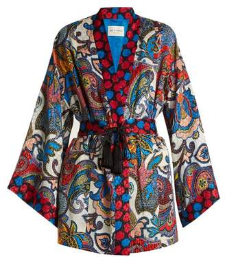 Etro Waist Tie Paisley Jacquard Silk Kimono - Womens - Multi