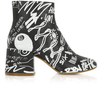 MM6 MAISON MARGIELA Mm6 Maison Martin Margiela Black Crackled Graffiti Printed Leather Heel Boots