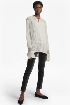 French Connection Hillary Sheer Collarless Shirt