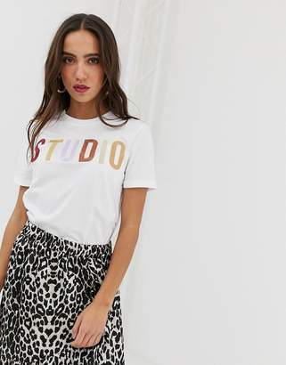 Pieces 'studio' slogan white t-shirt