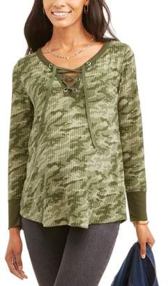 Faded Glory Maternity Long Sleeve Thermal Lace-Up Henley