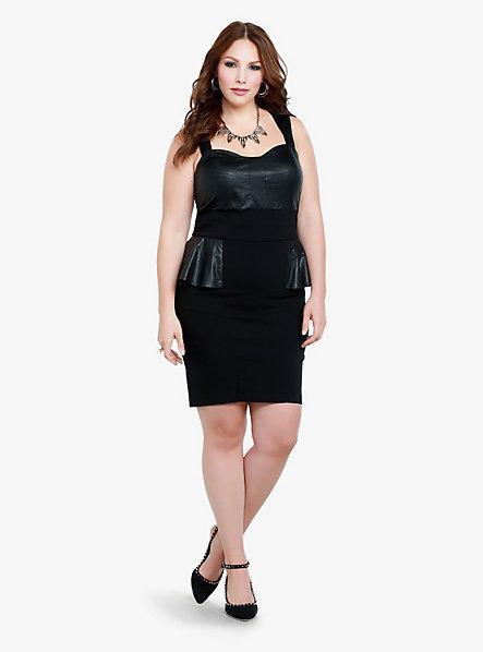 Torrid Faux Leather Peplum Dress