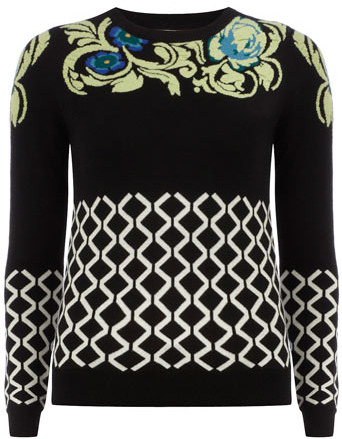 Dorothy Perkins Black and lime retro jumper