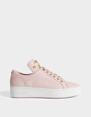 MICHAEL Michael Kors Mindy Lace Ups with Hearts in Pink Calfskin