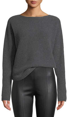 Vince Ribbed Wool Boat-Neck Pullover Sweater