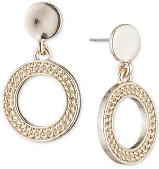 DKNY Textured Drop Hoop Earrings