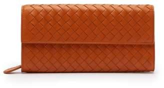 Bottega Veneta Intrecciato Continental Leather Wallet - Womens - Orange