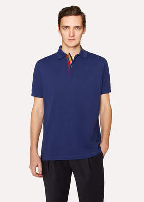 Paul Smith Men's Slim-Fit Blue Cotton-Pique Polo Shirt With 'Artist Stripe' Placket