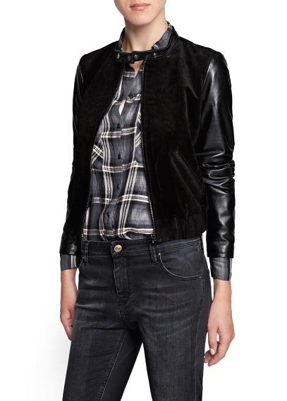 Combi Mango Outlet Leather Bomber Jacket