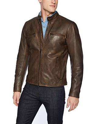 Lucky Brand Men's Zip Front Vintage Leather Jacket